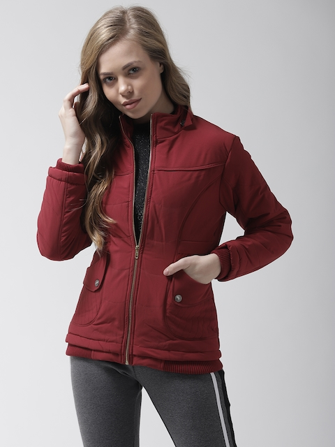 Fort Collins Women Maroon Solid Padded Jacket