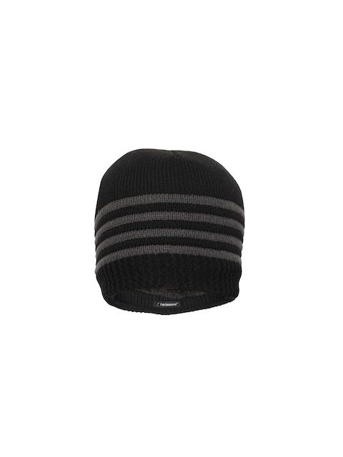 FabSeasons Unisex Black & Grey Self Design Beanie