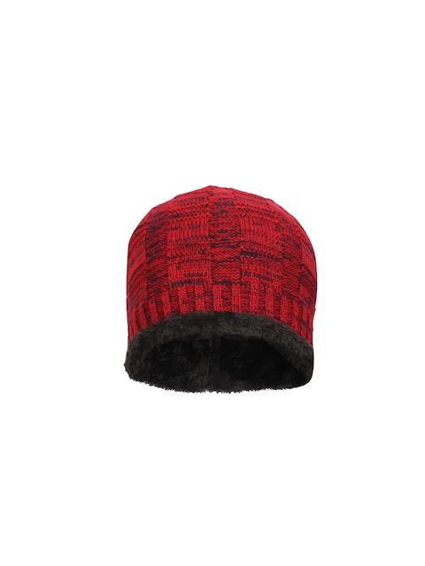 FabSeasons Unisex Red & Black Self Design Beanie