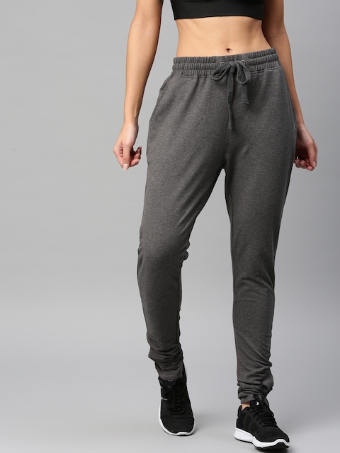 HRX by Hrithik Roshan Women Charcoal Grey Solid Track Pants