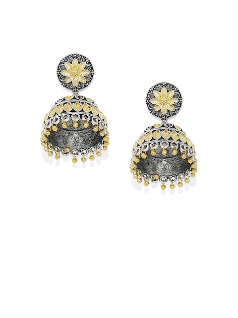 AccessHer Women Silver-Toned & Gold-Toned Dome Shaped Jhumkas