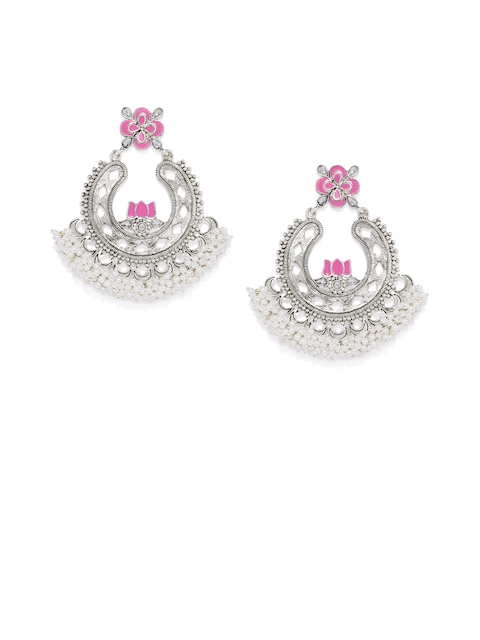 AccessHer Silver-Toned & Pink Circular Drop Earrings