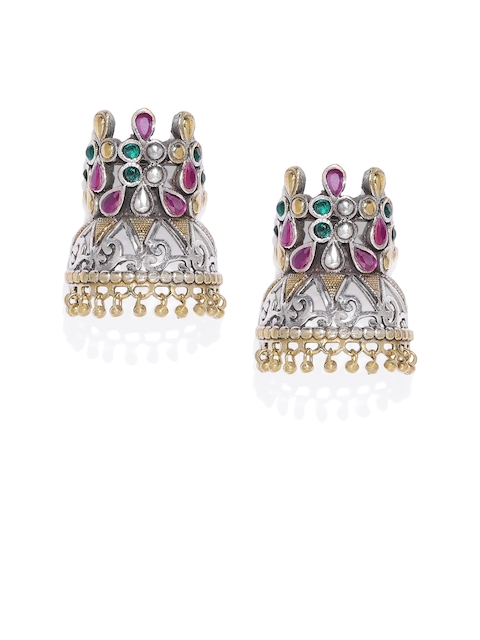 AccessHer Silver-Plated & Pink Dome Shaped Jhumkas