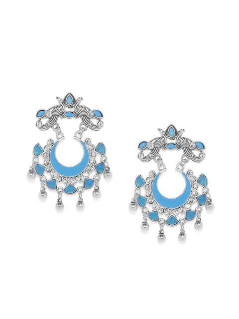 AccessHer Silver-Toned & Blue Crescent Shaped Chandbalis