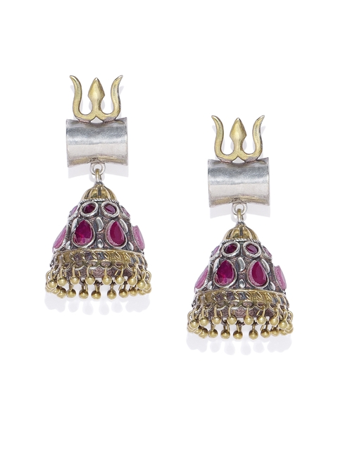 AccessHer Silver-Plated & Red Dome Shaped Jhumkas