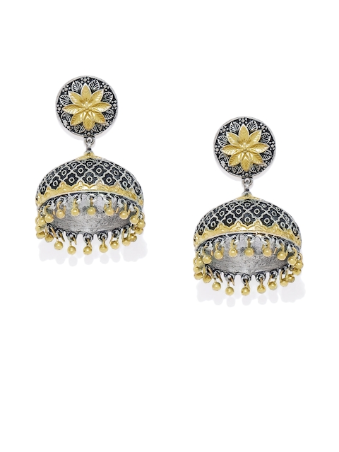 AccessHer Silver-Plated & Gold-Toned Dome Shaped Jhumkas