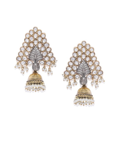 AccessHer Silver-Plated & Gold-Toned Peacock Shaped Jhumkas