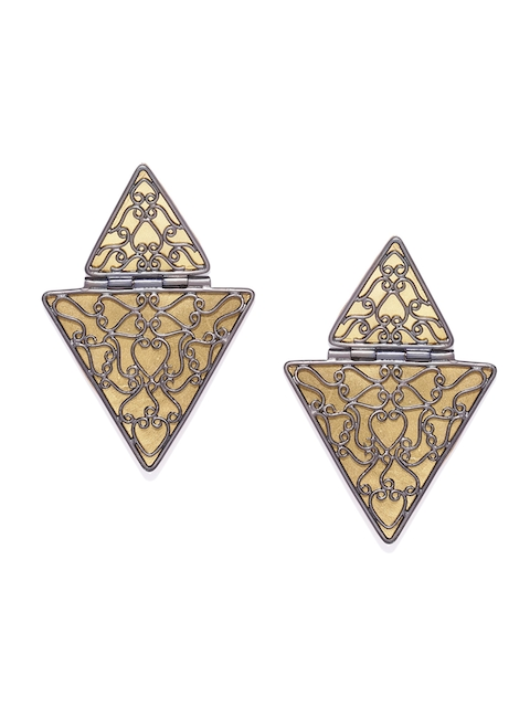 AccessHer Silver-Toned & Gold-Toned Triangular Studs