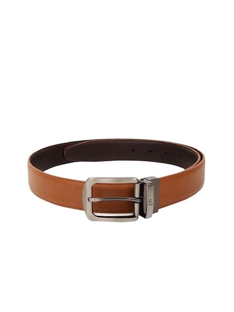 Kara Men Brown Textured Reversible Belt