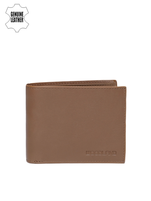 Woodland Men Brown Solid Two Fold Leather Wallet
