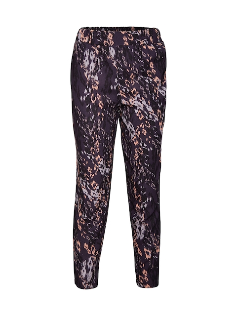 Oxolloxo Girls Grey & Peach-Coloured Regular Fit Printed Regular Trousers