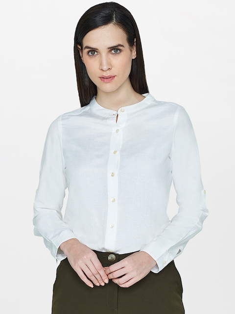 AND Women White Regular Fit Solid Casual Shirt