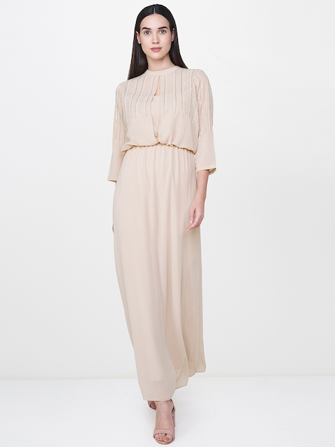 AND Women Beige Solid Maxi Dress