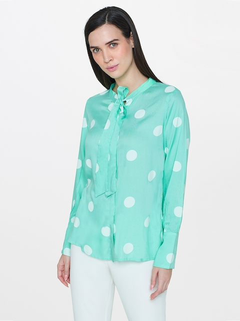 AND Women Green Regular Fit Printed Casual Shirt