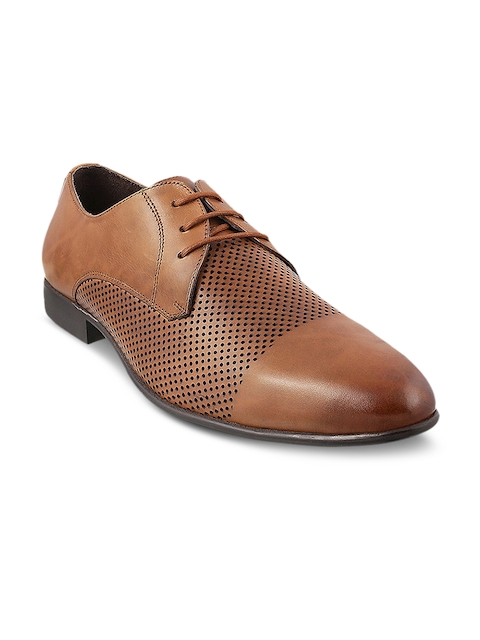 Mochi Men Tan Brown Formal Leather Derbys