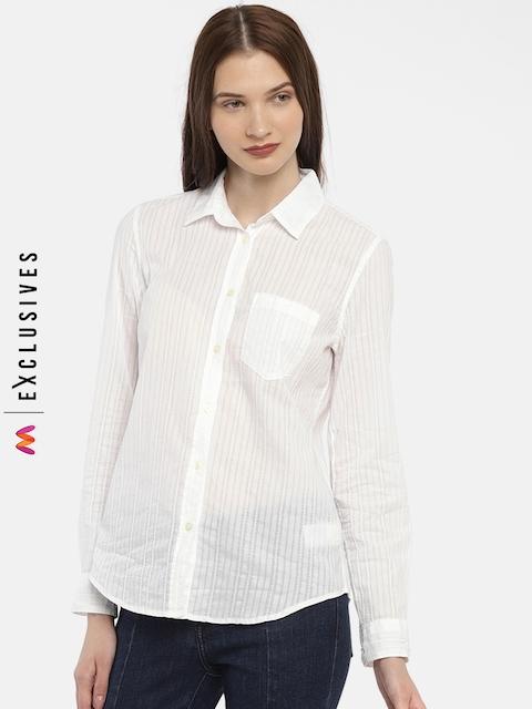 GAP Women Whtie Fitted Boyfriend Texture Stripe Shirt