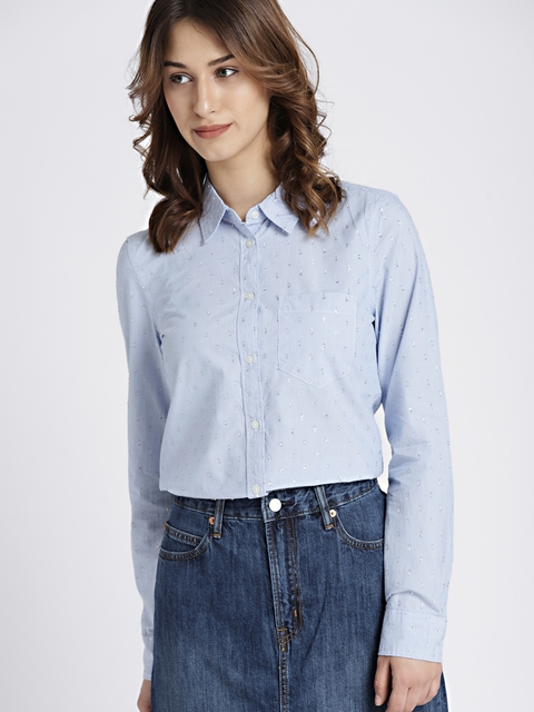 GAP Women Blue & White Regular Fit Striped Shimmery Casual Shirt