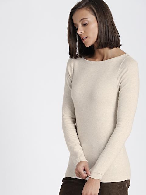 GAP Women Beige Modern Long Sleeve Boatneck T-Shirt