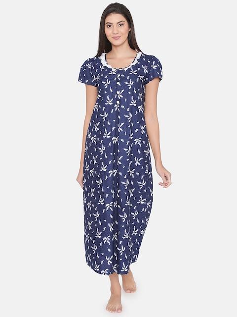 Clovia Women Navy Blue Printed Maternity Nightdress NS0930P08XL