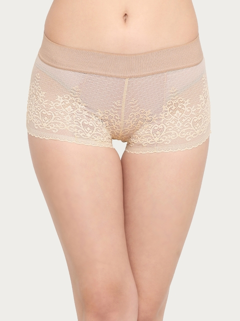 Clovia Women Nude-Coloured Lace Boyshorts PN2171P24XL