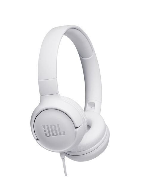 JBL White Tune500 Powerful Bass On-Ear Headphones with Mic