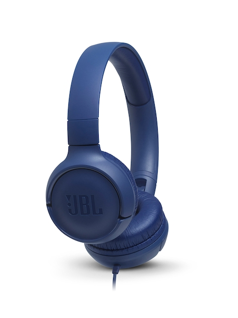 JBL Blue T500 Powerful Bass On-Ear Headphones with Mic