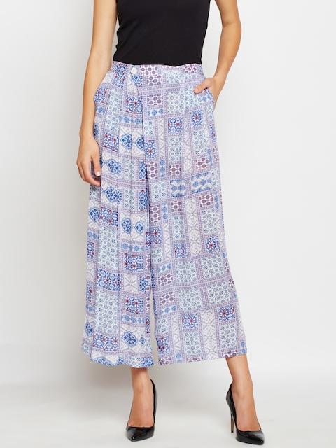 Oxolloxo Women Purple Printed Palazzos