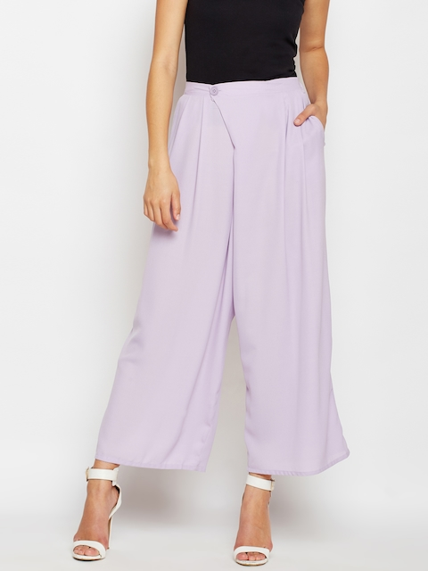 Oxolloxo Women Lavender Solid Wide Leg Palazzos