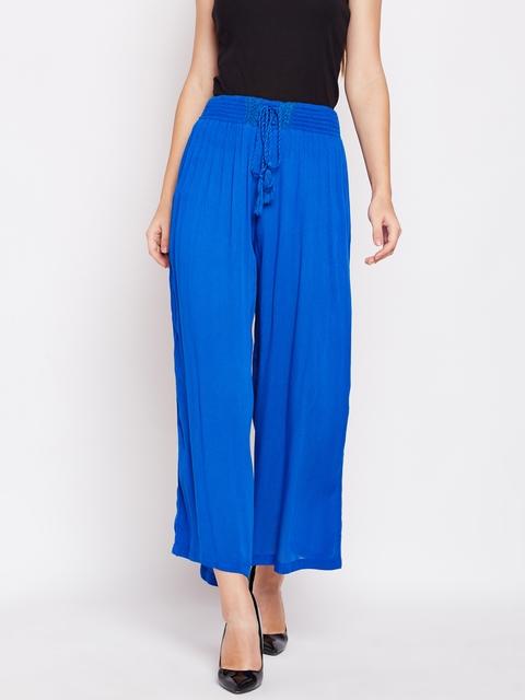 Oxolloxo Women Blue Solid Wide Leg Palazzos