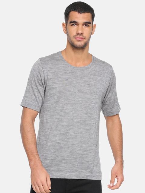 Park Avenue Men Grey Melange Woolen Solid Round Neck Thermal T-shirt PZGX00038