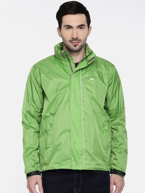 Wildcraft Men Green Checked Hooded Rain Pro Jacket