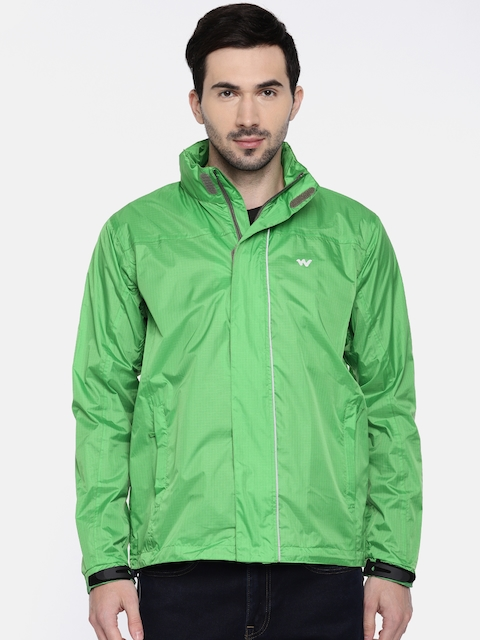 Wildcraft Men Green Checked Hooded Rain Pro Jacket