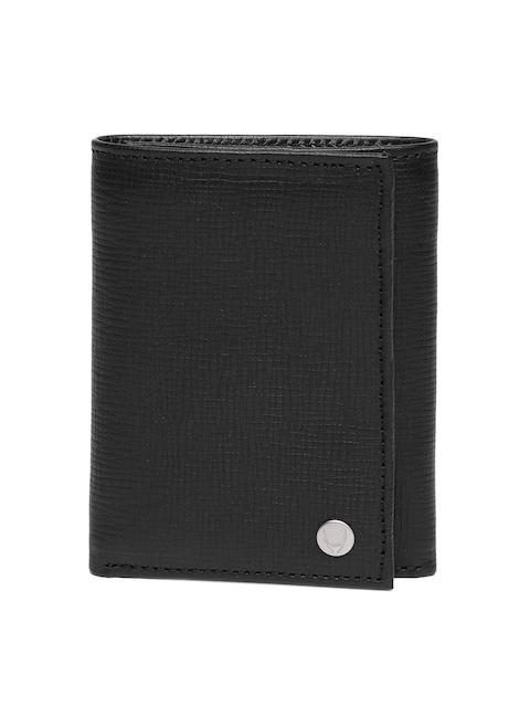 Hidesign Men Black Textured Leather Three Fold Wallet