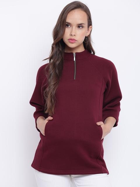 Texco Maroon Mock Neck Women Sweatshirt