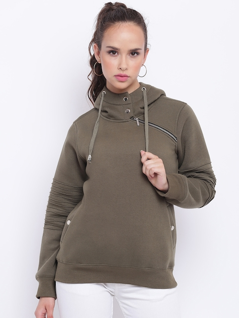 Texco Olive Green Zipper Detailed Hooded Women Sweatshirt