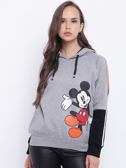 Texco Hooded Grey Mickey Mouse Printed Color block Women Sweatshirt