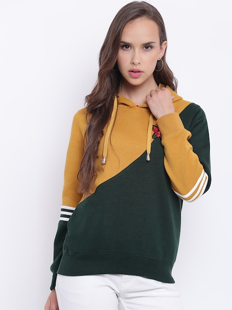 Texco Mustard And Green Embroiderd Hooded Women Sweatshirt