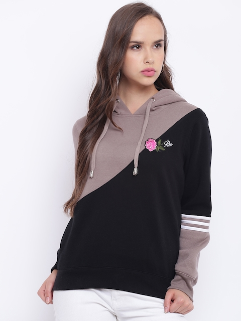 Texco Women Black & Tapue Colourblocked Sweatshirt
