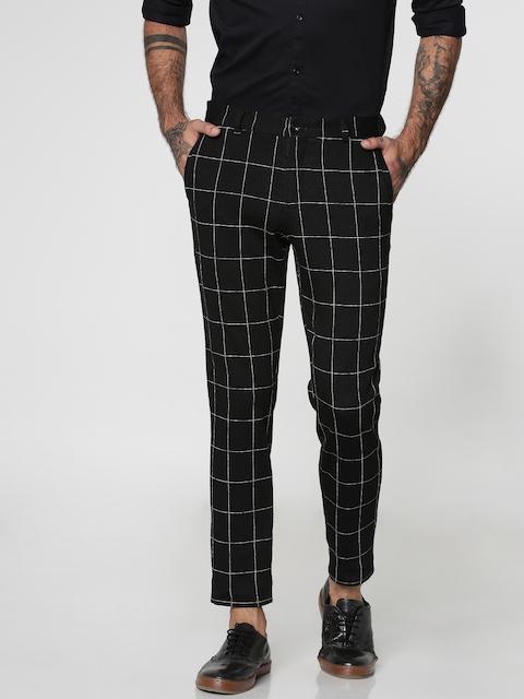 Jack & Jones Men Black Slim Fit Checked Regular Trousers
