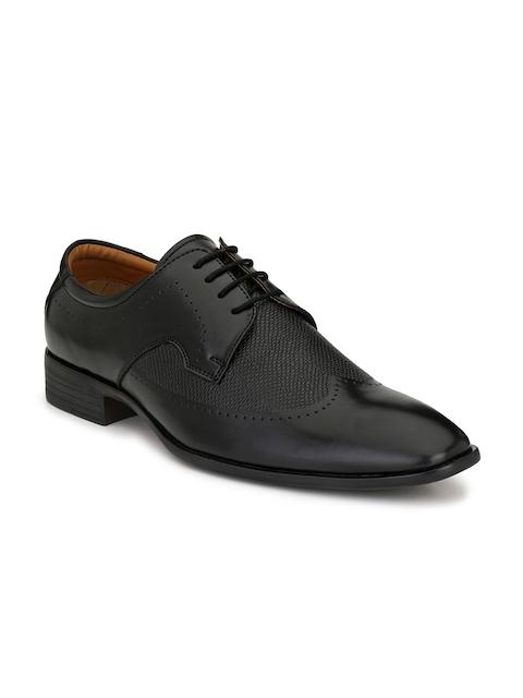 Mactree Men Black Textured Formal Derbys