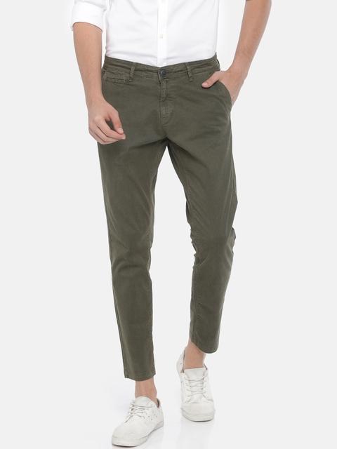 SPYKAR Men Olive Green Slim Fit Printed Regular Trousers