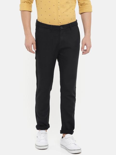 SPYKAR Men Black Solid Regular Trousers