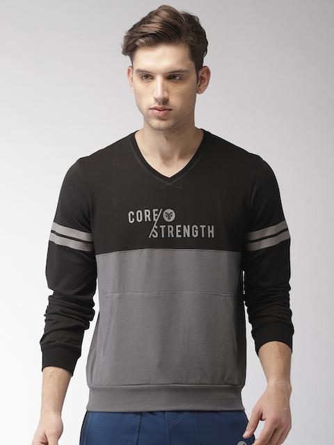 2GO Men Black & Grey Colourblocked Sweatshirt