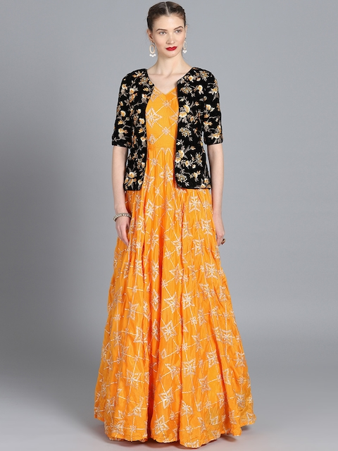 Bollywood Vogue Women Yellow Made to Measure Embellished Maxi Gown With Ethnic Jacket