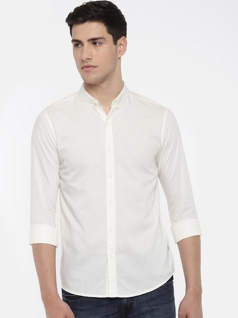 SPYKAR Men Beige Slim Fit Solid Casual Shirt