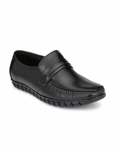 Fentacia Men Black Leather Semiformal Slip-Ons