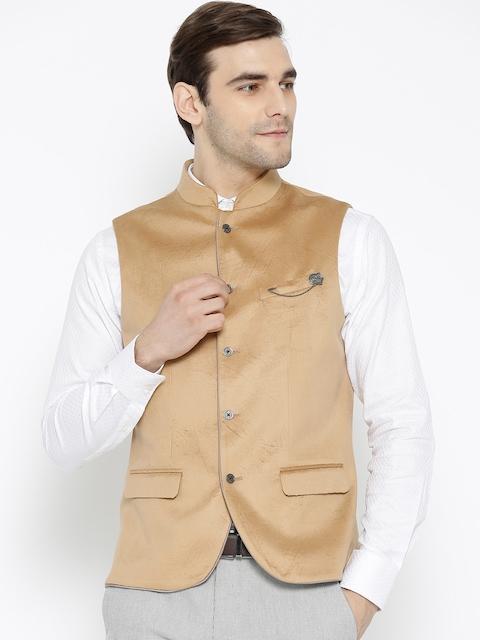 Blackberrys Men Beige Textured Slim Fit Single Breasted Nehru Jacket