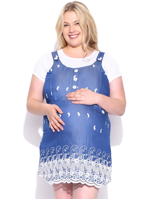 SDL by Sweet Dreams Blue Embroidered Maternity Sleepwear MET-1115