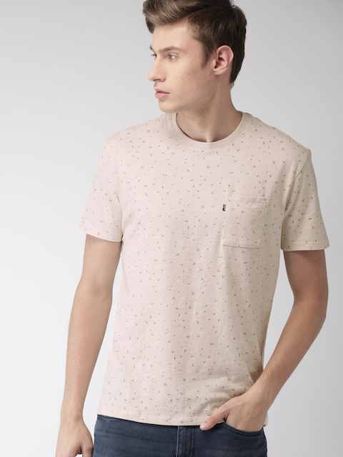 Levis Men Beige Printed Round Neck T-shirt