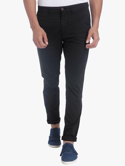 Jack & Jones Men Black Slim Fit Solid Chinos